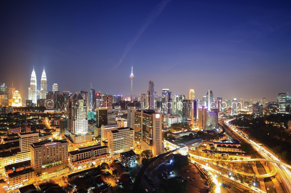 Kuala Lumpur City Skyline Blue Hour