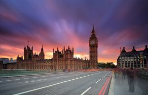 London's Big Ben Fiery Sunset